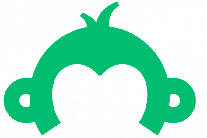 This is the SurveyMonkey apply logo: A green illustration of the top part of a monkey's head. There are no facial features; just ears and a hair sticking up.