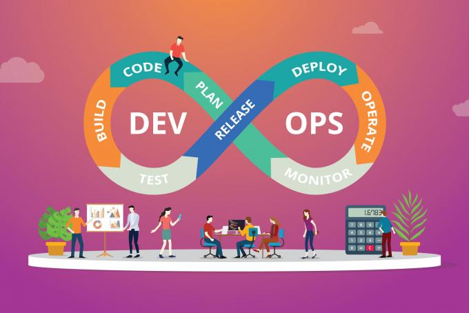 Programmers at work concept using devops software development practices - vector illustration