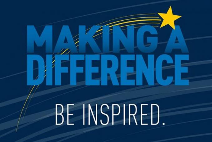 "A decorative image that is navy blue with medium blue text and a yellow star. The text reads ""Making a Difference. Be inspired."""