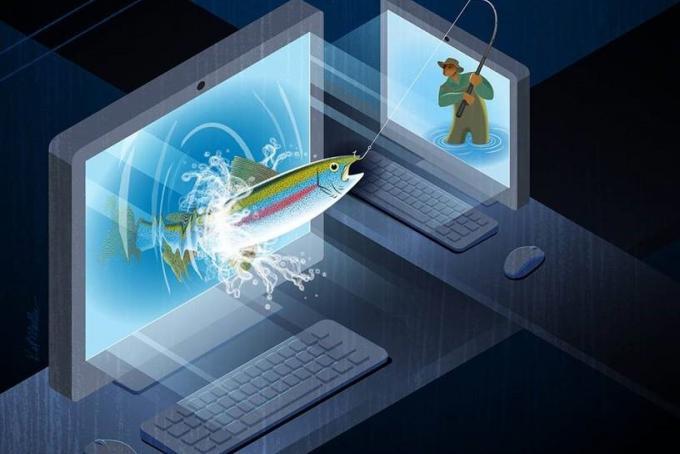 Phishing on a computer