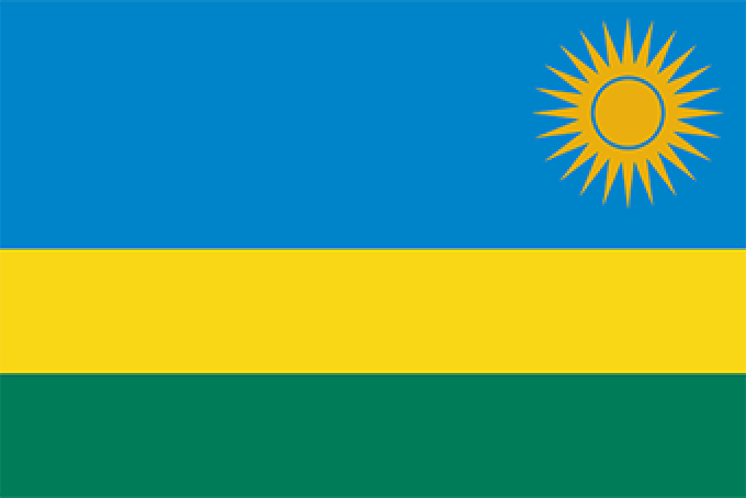 A decorative image of the outline of the country Rwanda, with the flag overlaid in the shape of the country.