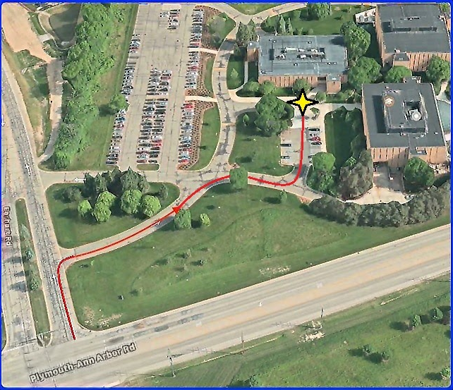 Satellite view for arbor lakes equipment pick up and drop off location