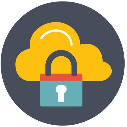 Cloud and lock symbols
