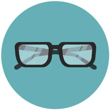 Eyeglasses icon on blue background